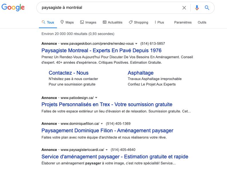 Paysagiste google ads