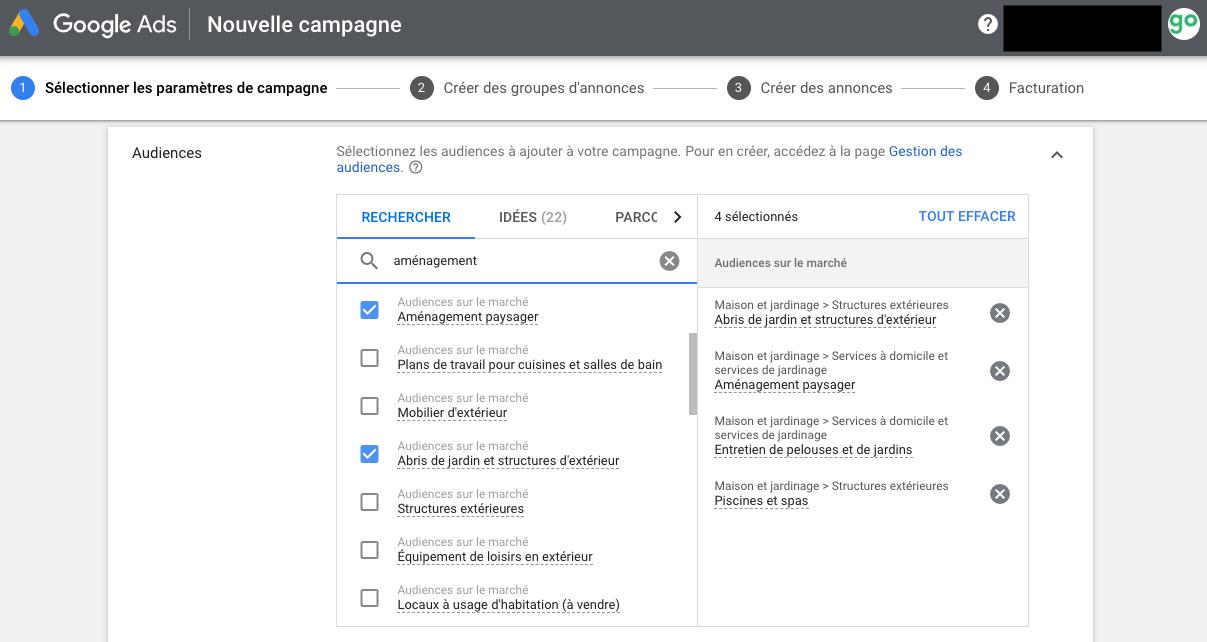 Nouvelle campagne Google Ads pour entrepreneurs paysagistes