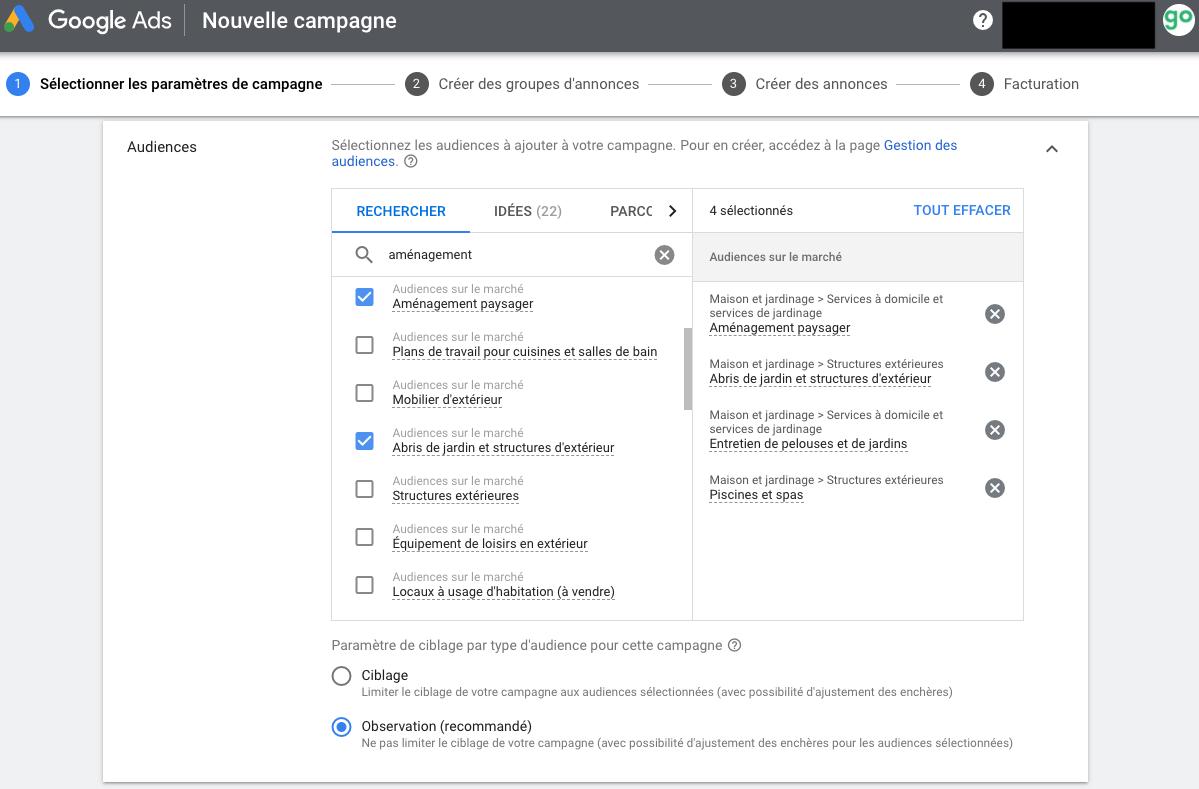 Google Ads Autre Audience ciblée